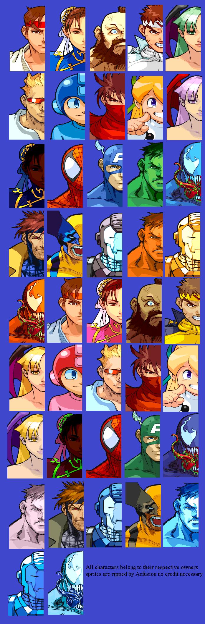 Arcade - Marvel vs  Capcom - Character Select Portraits