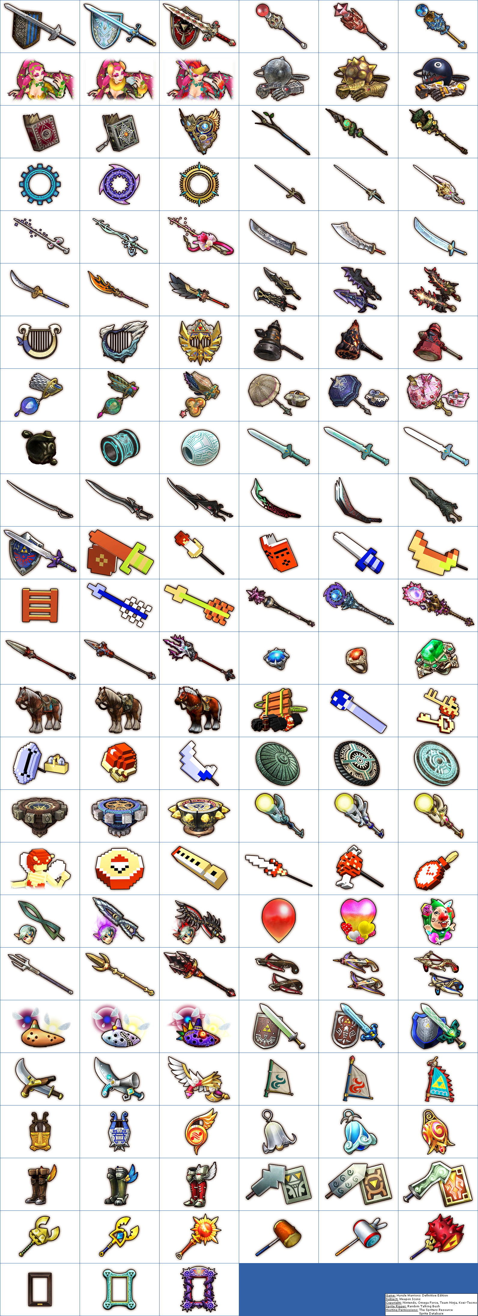 Nintendo Switch Hyrule Warriors Definitive Edition Weapon Icons The Spriters Resource