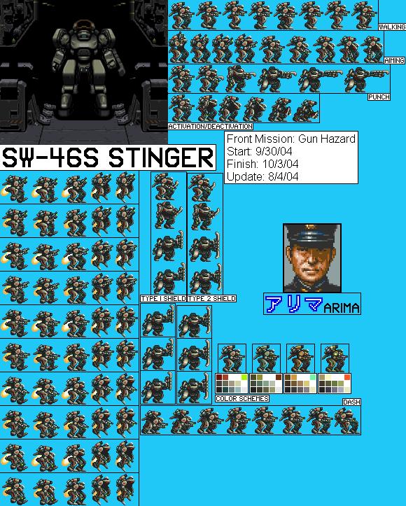 Snes Front Mission Gun Hazard Jpn Sw 46s Stinger The
