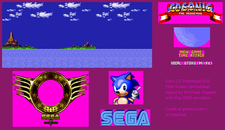 Genesis 32x Scd Sonic The Hedgehog Cd Sega Cd Prototype Title Screen The Spriters Resource