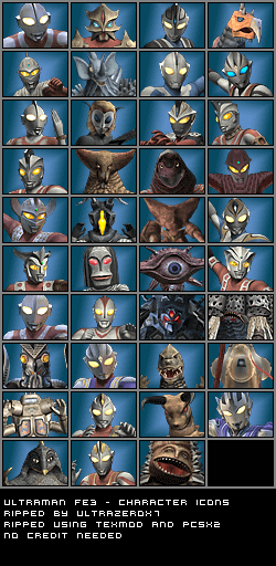 Playstation 2 Ultraman Fighting Evolution 3 Character Icons