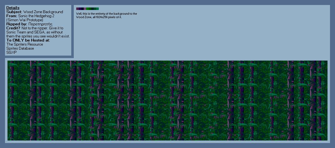 Genesis 32x Scd Sonic The Hedgehog 2 Wood Zone Background The Spriters Resource