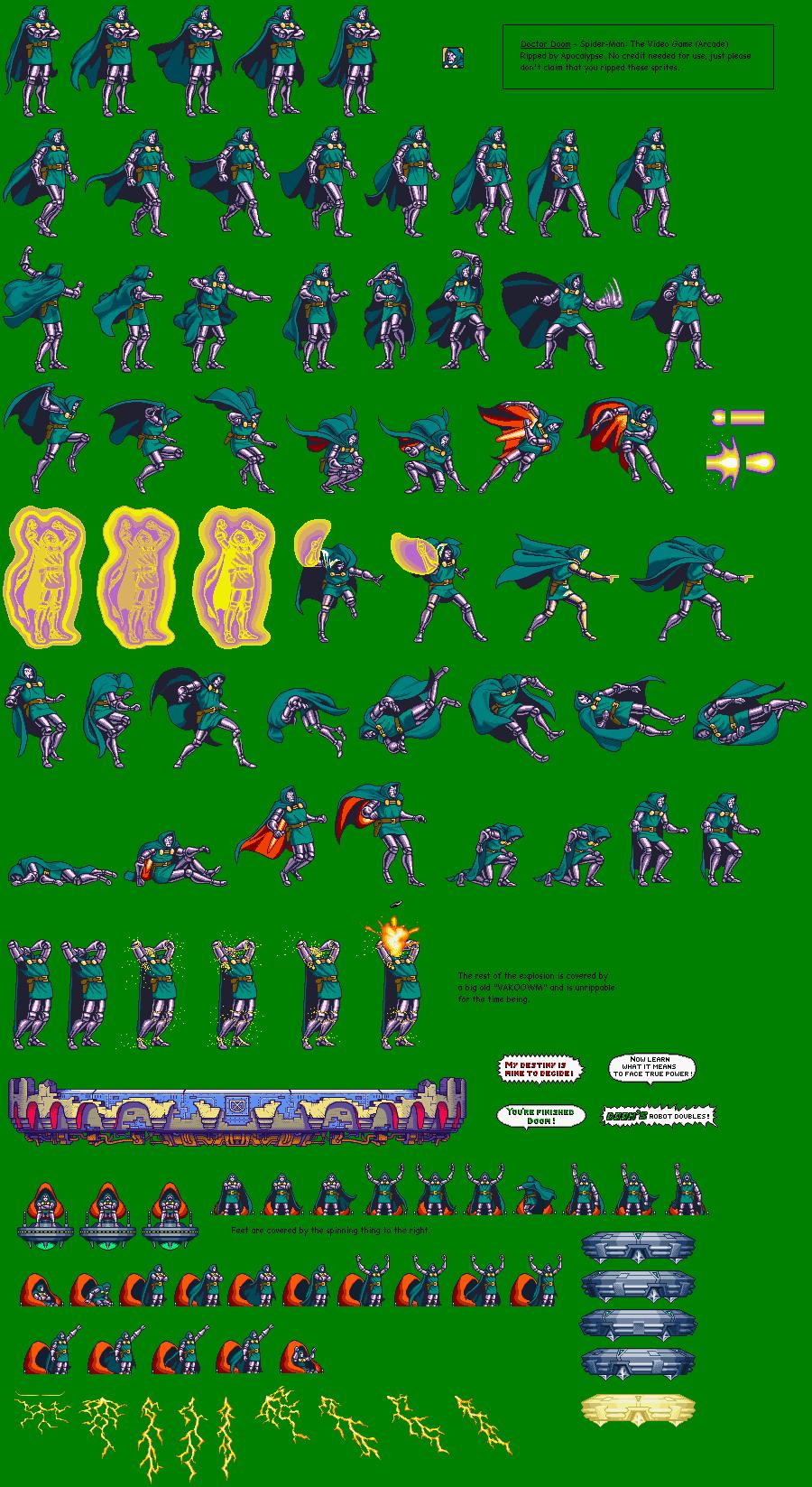 Arcade Spider Man The Video Game Dr Doom The Spriters Resource