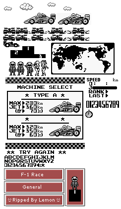 Game Boy / GBC - F-1 Race - General Sprites - The Spriters