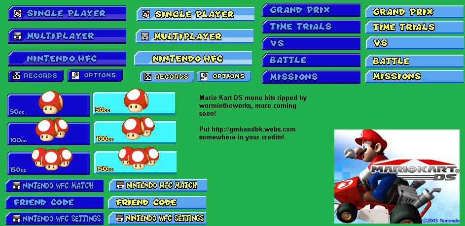 Ds Dsi Mario Kart Ds Menu The Spriters Resource