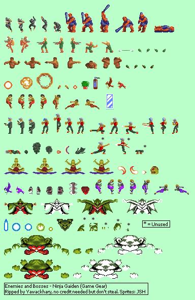 Game Gear Ninja Gaiden Enemies And Bosses The Spriters Resource