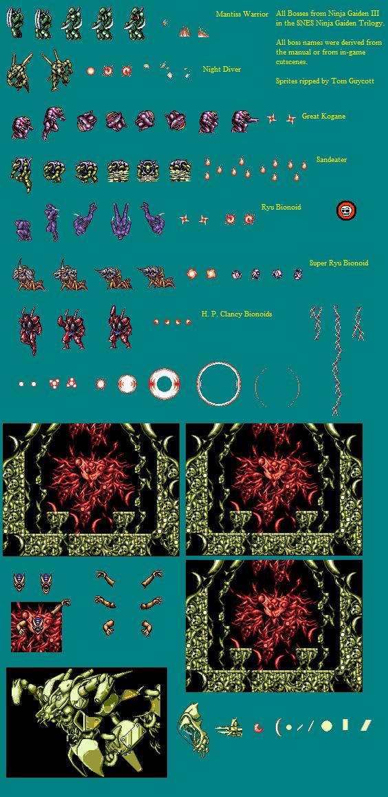 Snes Ninja Gaiden Trilogy Bosses The Spriters Resource