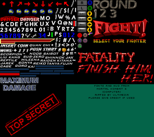 PC / Computer - Mortal Kombat 4 - Fonts and HUD - The