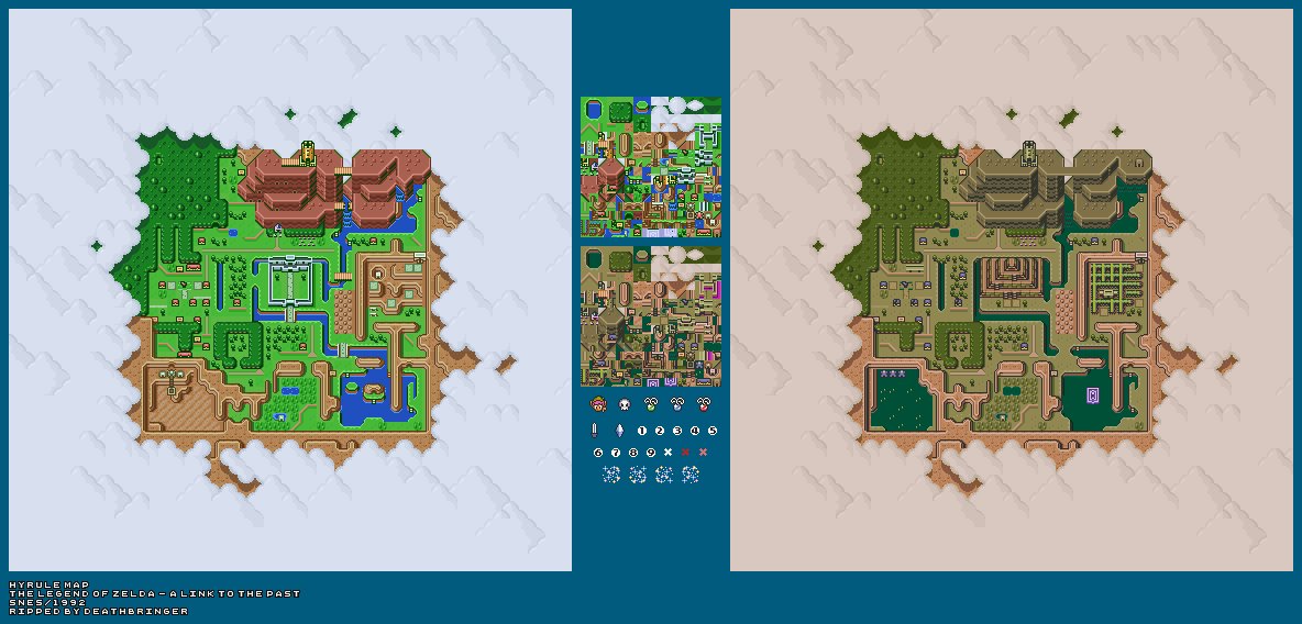 Snes The Legend Of Zelda A Link To The Past Hyrule Map The Spriters Resource