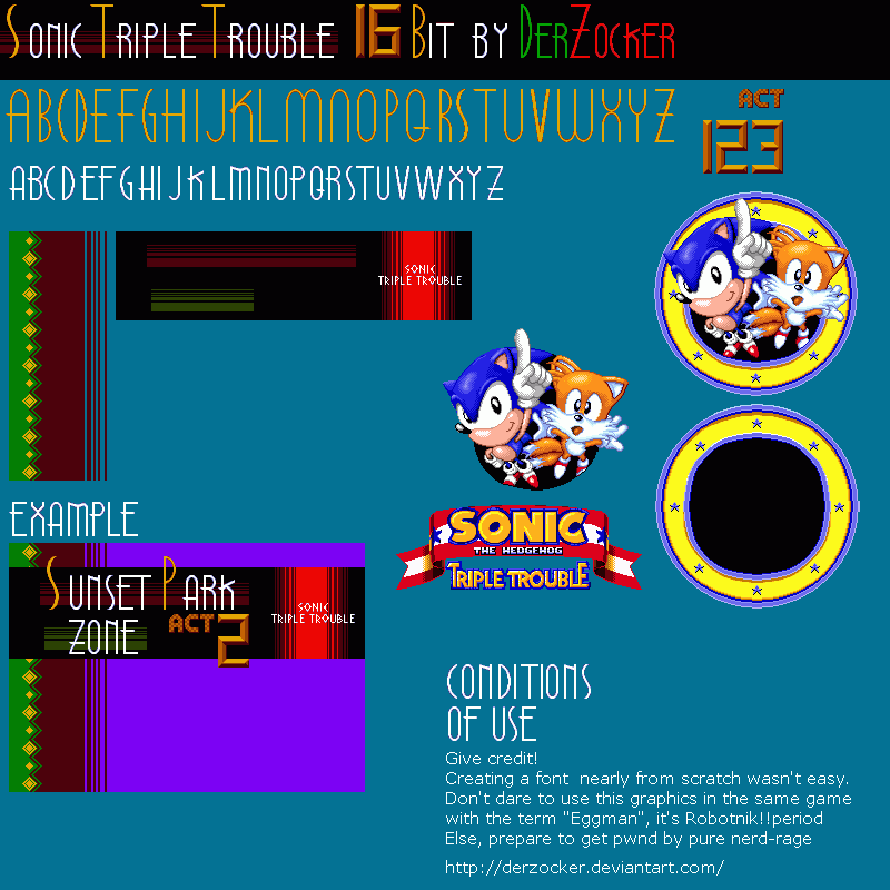 Custom Edited Sonic The Hedgehog Customs Title Font Sonic Triple Trouble Sonic Genesis Style The Spriters Resource