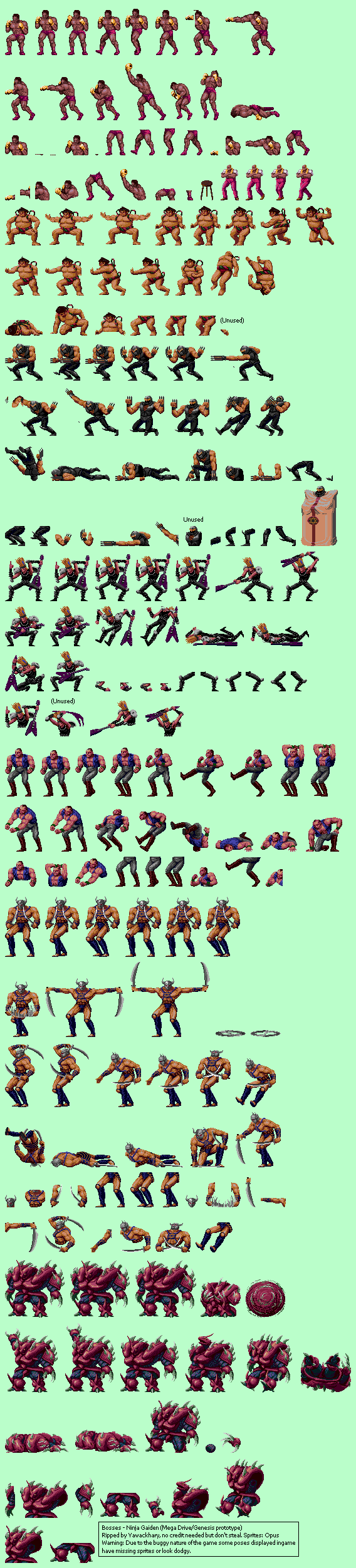 Genesis 32x Scd Ninja Gaiden Prototype Bosses The