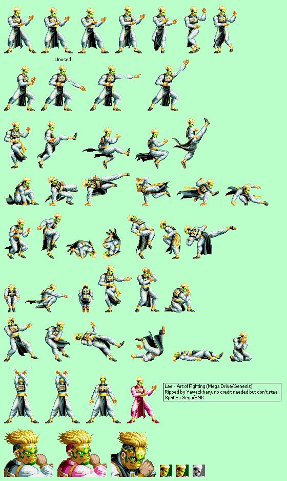 Genesis 32x Scd Art Of Fighting Lee The Spriters Resource