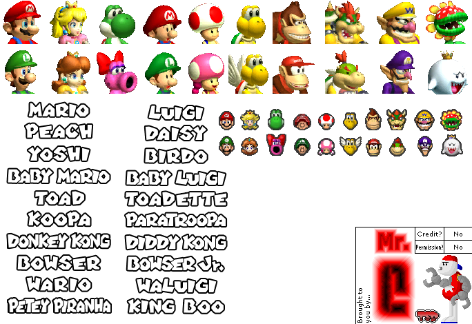 Gamecube Mario Kart Double Dash Character Icons The