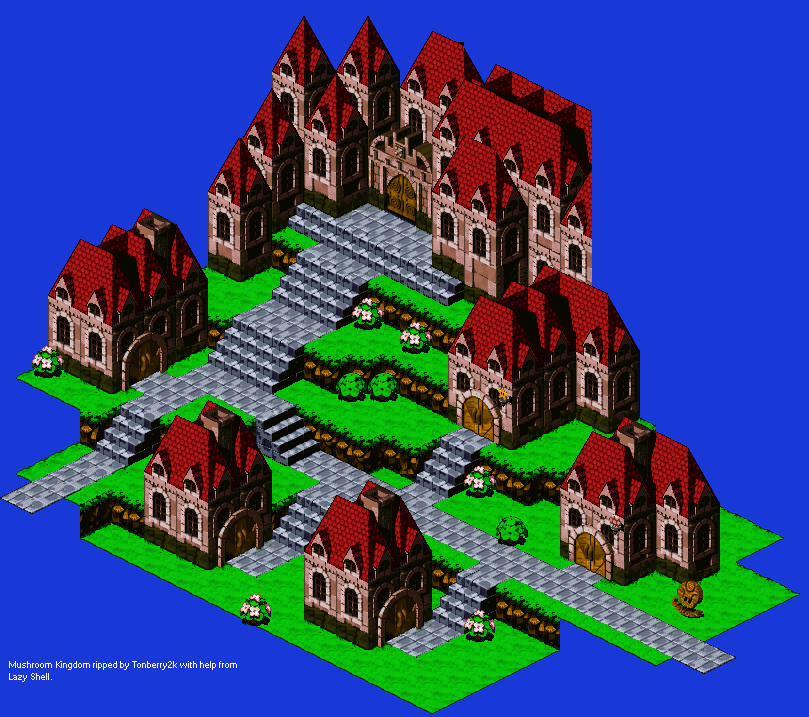 The Spriters Resource Full Sheet View Super Mario Rpg Legend Of The Seven Stars Mushroom Kingdom Exterior