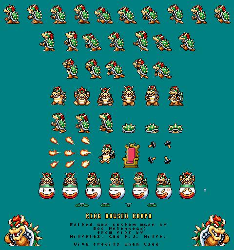 Custom Edited Mario Customs Bowser Super Mario Bros 3 Snes