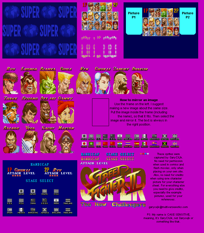 Snes Super Street Fighter 2 Character Select The Spriters Resource