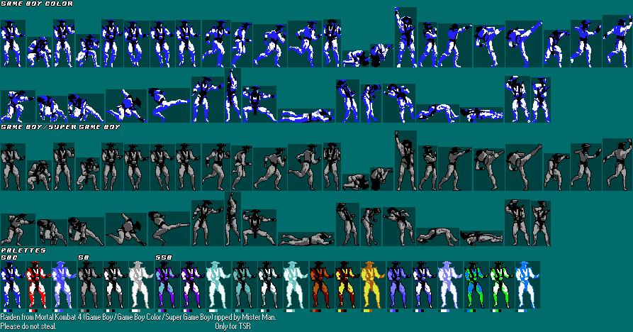 Game Boy / GBC - Mortal Kombat 4 - Raiden - The Spriters
