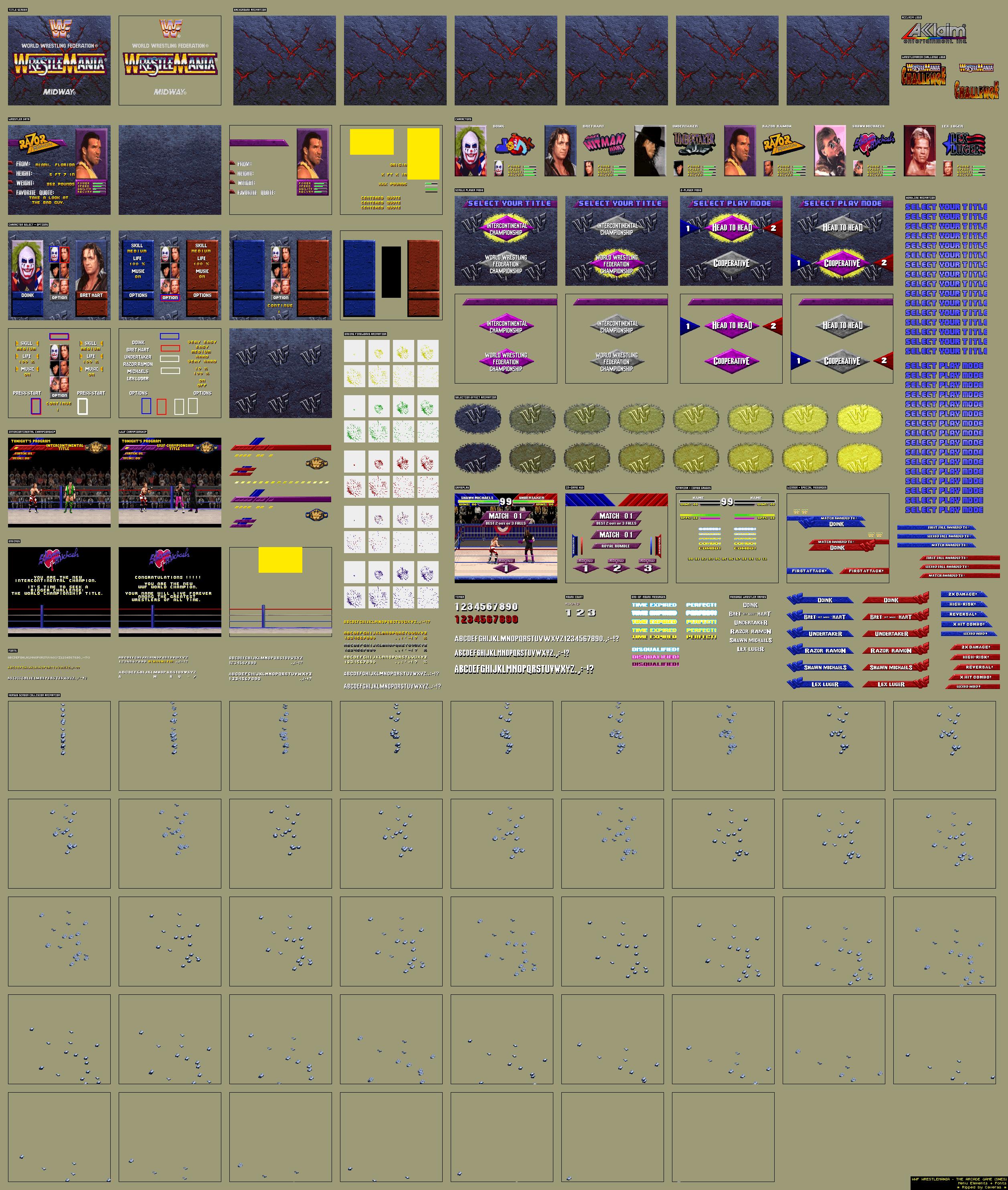 SNES - WWF WrestleMania: The Arcade Game - Menu Elements +