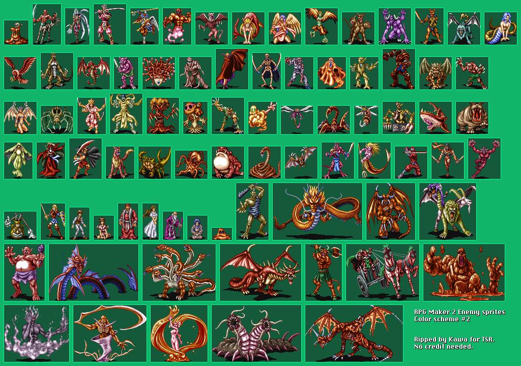 SNES - RPG Tsukuru 2 /RPG Maker 2 (JPN) - Enemies 2/2 - The Spriters