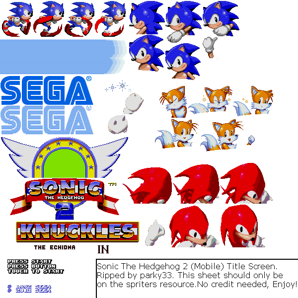 Mobile Sonic The Hedgehog 2 Title Screen The Spriters Resource
