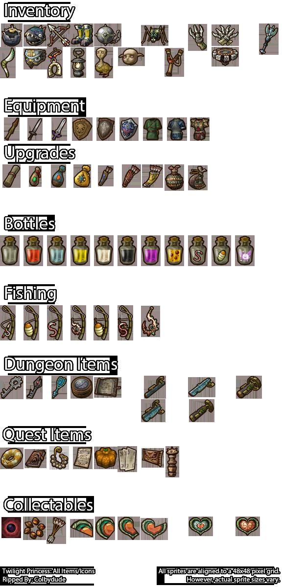 Zelda Twilight Princess Item Icons