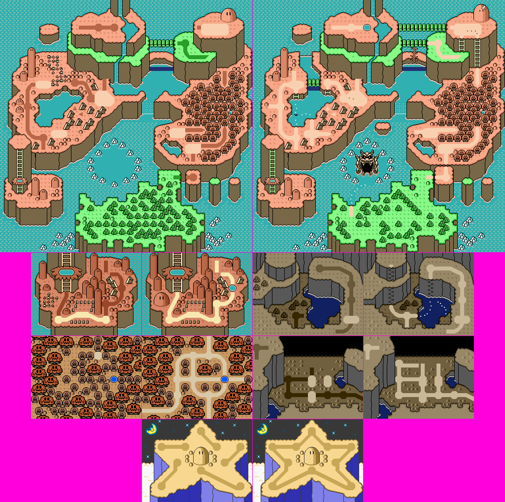 Snes super mario world world map wo sprite alternate palette click for full sized image world map wo sprite alternate palette gumiabroncs Image collections