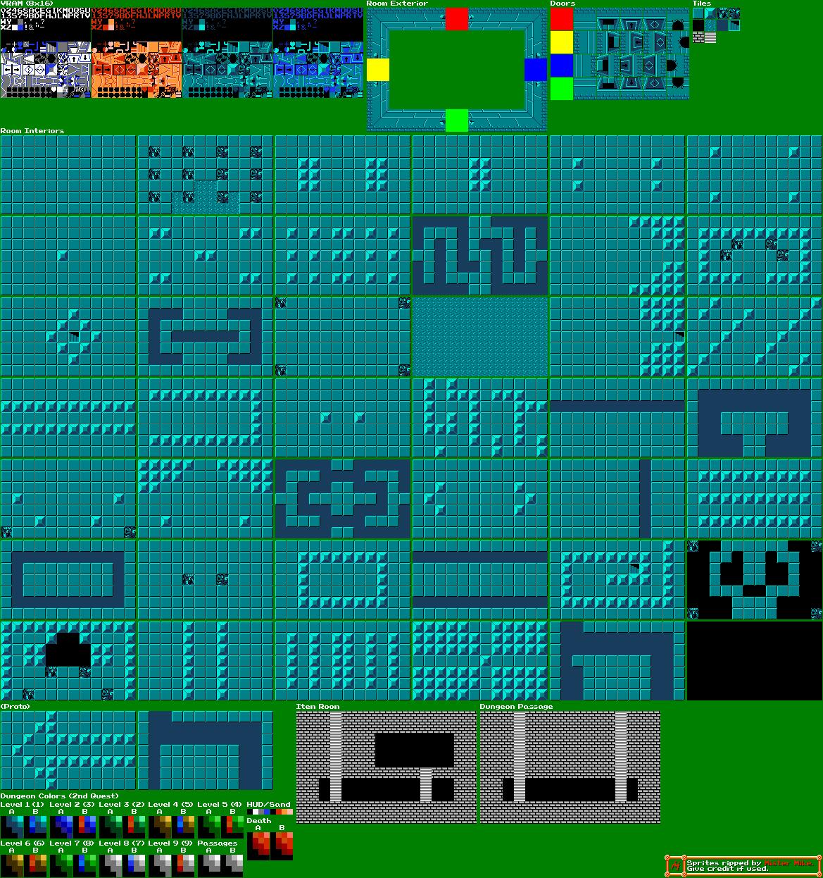 NES - The Legend of Zelda - Dungeon Tileset - The Spriters Resource