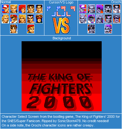Snes The King Of Fighters 2000 Bootleg Character Select