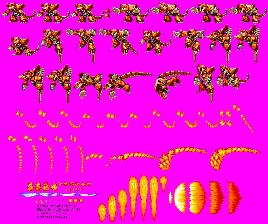 PlayStation - Mega Man X5 - Mattrex / Burn Dinorex - The Spriters