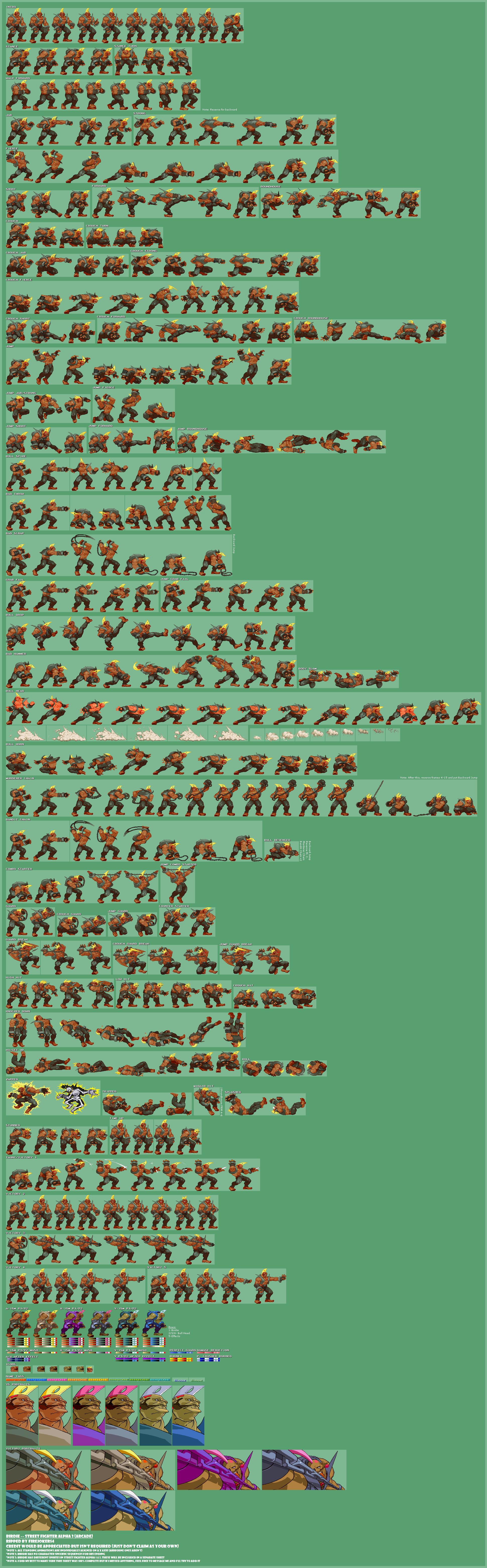 Arcade Street Fighter Alpha 3 Birdie The Spriters Resource