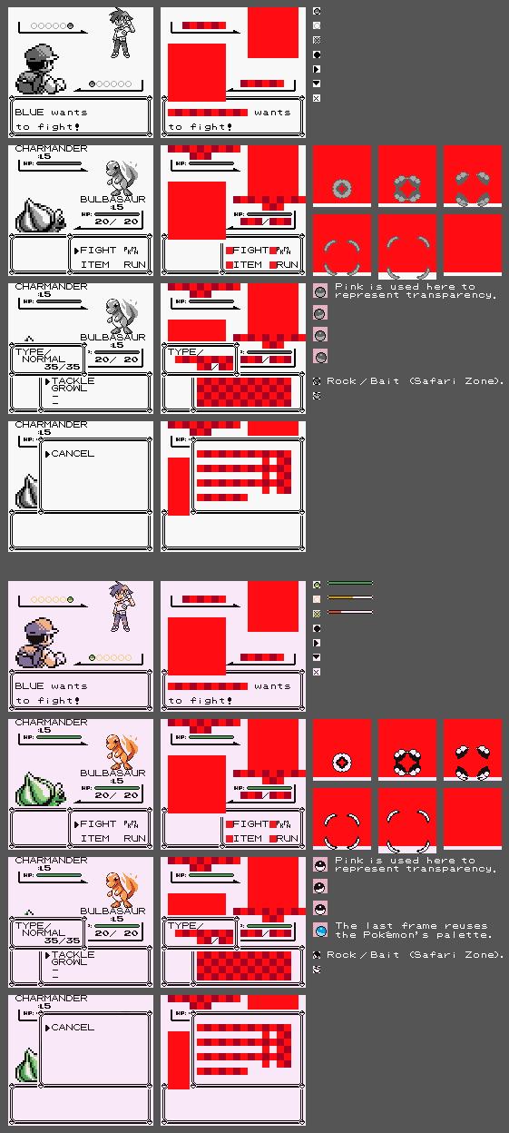game boy gbc pokémon red blue battle screen the spriters