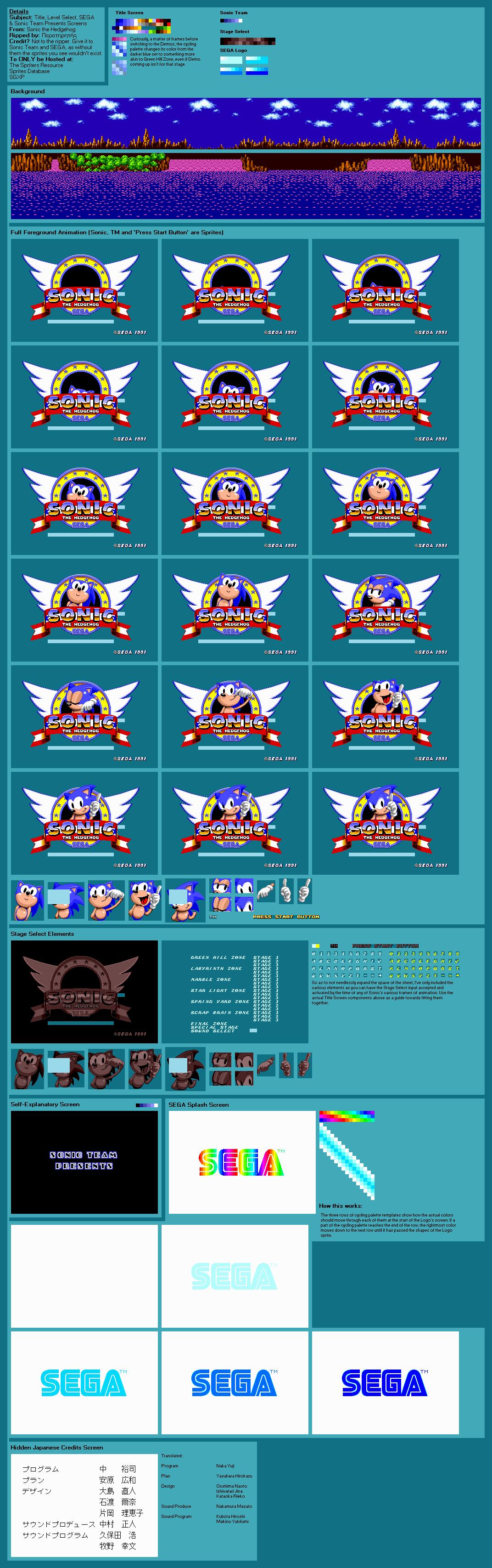 Genesis 32x Scd Sonic The Hedgehog Title Screen The Spriters Resource