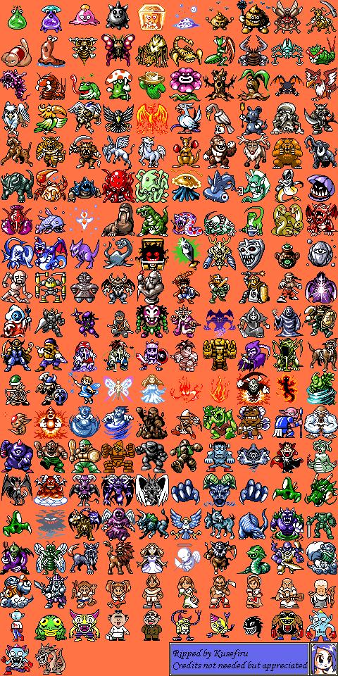 Game Boy / GBC - RPG Tsukuru GB2 - Enemies Battle Sprites - The