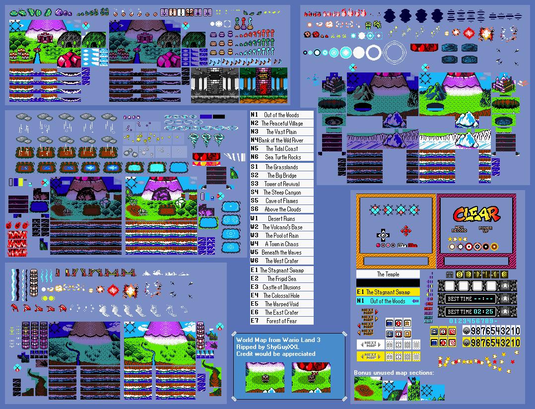 Game Boy Gbc Wario Land 3 World Map The Spriters Resource