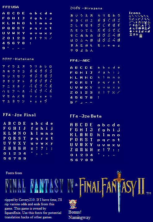 Snes Final Fantasy 4 Font The Spriters Resource