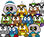 Goombas and Spiked Goombas (Paper Mario-Style)
