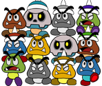 Goombas and Spiked Goombas (Paper Mario CS style)