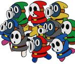 Shy Guy and Snifit (Paper Mario CS Style)