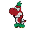 Yoshi Kid (Red, Paper Mario-Style)