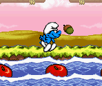Apple Bobbing on the River Smurf