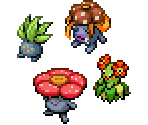 Oddish, Gloom, Vileplume and Bellossom