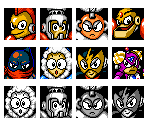 Mega Man 1 & Powered Up Robot Master Mugshots