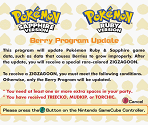 Pokémon Ruby & Sapphire Berry Program Update