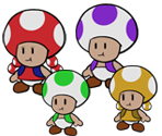 Toads & Toadettes (Paper Mario-Style)
