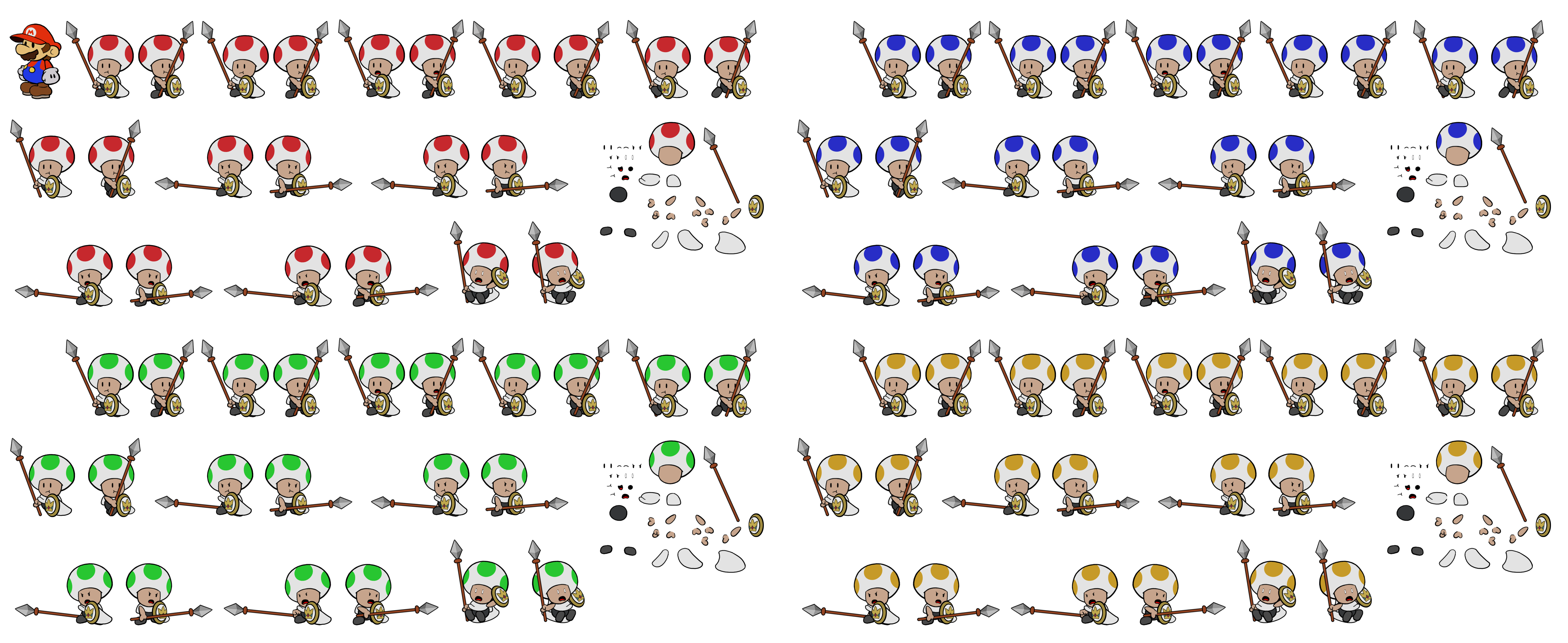Paper Mario Customs - Guard Toads (Paper Mario Style)