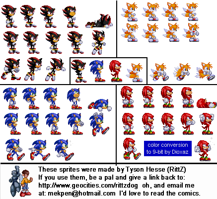 Sonic, Tails, Knuckles & Shadow