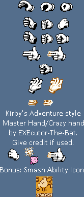 Master Hand / Crazy Hand (Kirby's Adventure-Style)