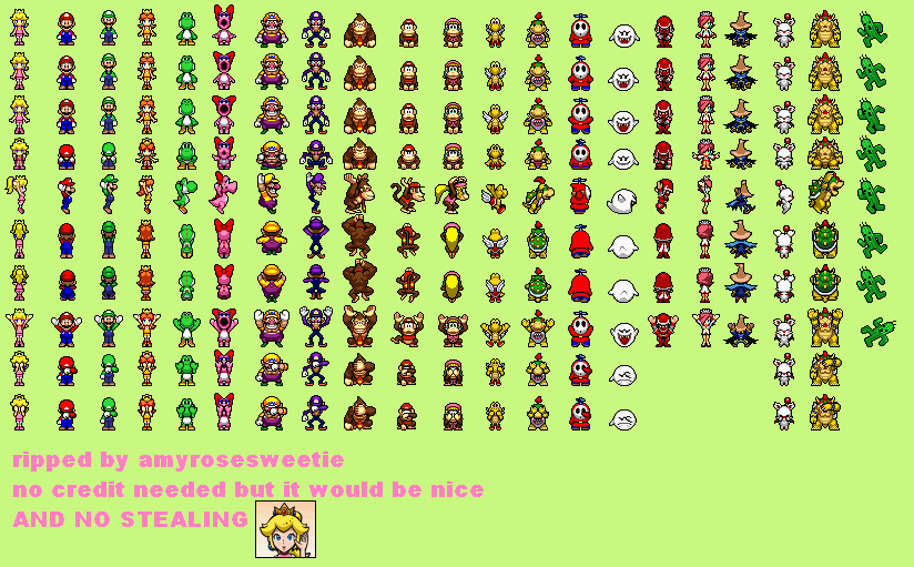 The Spriters Resource Full Sheet View Mario Hoops 3 On 3 Playable Characters