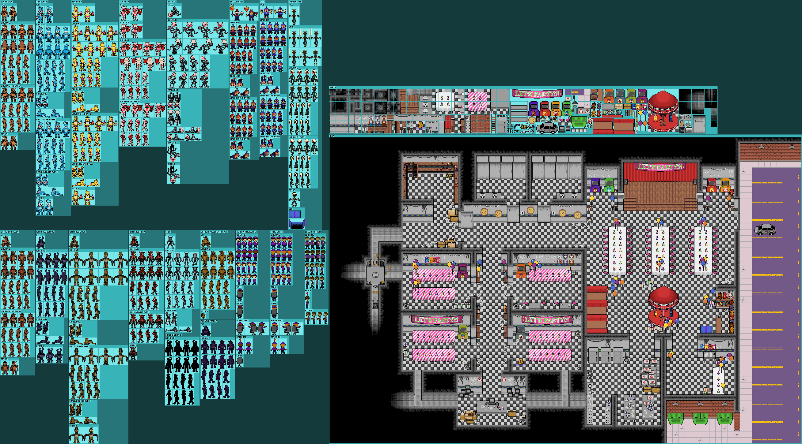 FNaF 2 Map / Characters (Undertale Overworld-Style)