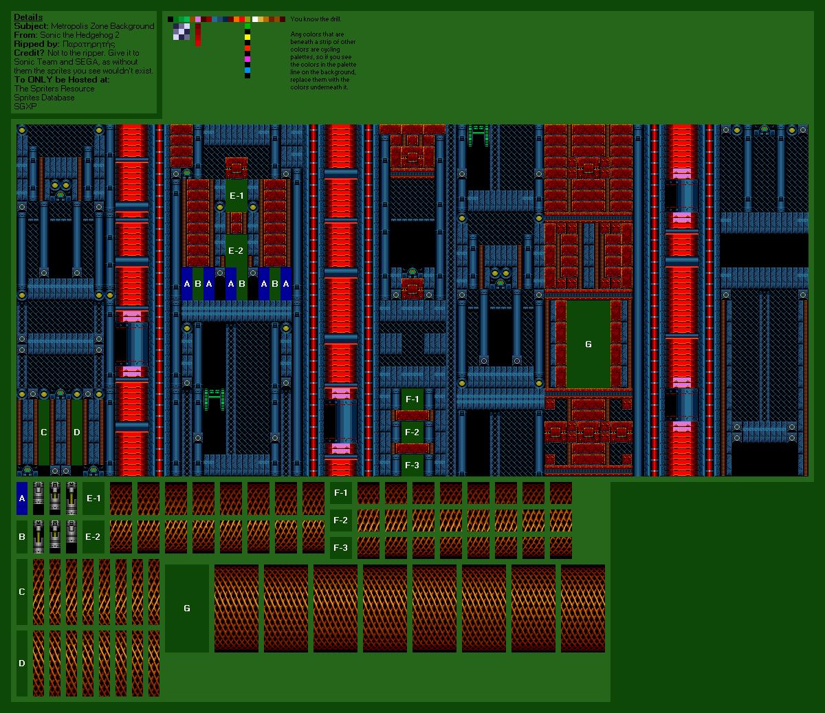 Genesis 32x Scd Sonic The Hedgehog 2 Metropolis Zone The Spriters Resource